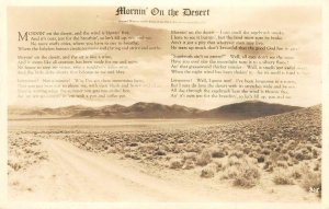 RPPC MORNIN' ON THE DESERT Nevada Cabin Poem ca 1940s Vintage Postcard