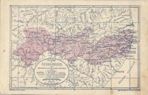 brazil, PERNAMBUCO, Map Postcard Estado de Pernambuco (1920s) Postcard