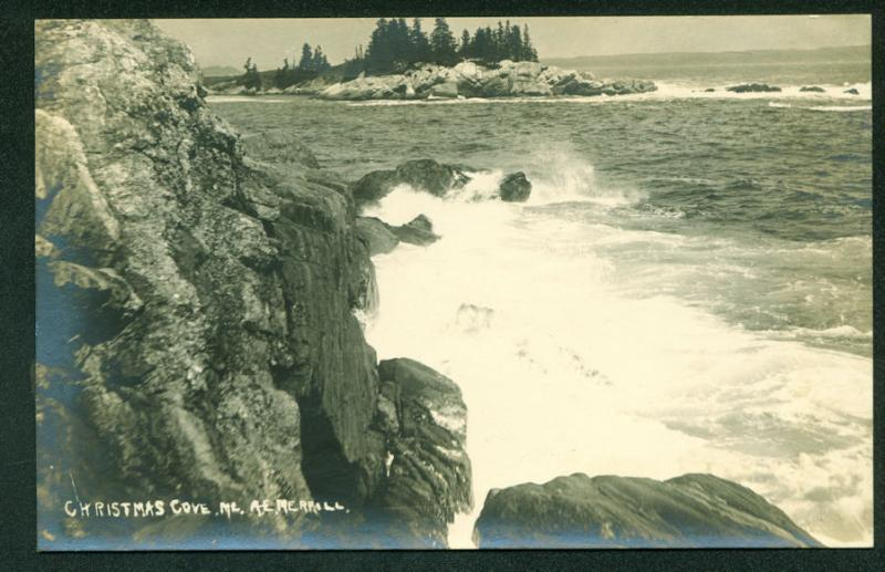 MAINE COAST Rocky Shores of Christmas Cove Real Photo Postcard RPPC