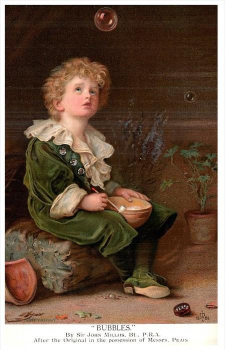 18311  Bubbles by Sir John Millais Bt.   Young Boy Blowing Bubbles