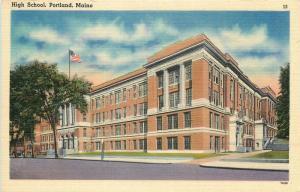 Portland, Maine, ME, High School, Unused Linen Vintage Postcard c6014