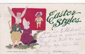 Easter Styles, 1901-07; White rabbit wearing clothes walks away with the bakers