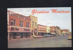 GLENDIVE MONTANA DOWNTOWN STREET SCENE 1950's CARS VINTAGE POSTCARD MONT.