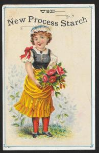 VICTORIAN TRADE CARD New Process Starch Pretty Girl & Bouquet