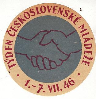 Czeckoslovakia 1946 Youth Week Die Cut Label