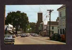 ME Norway Maine Main St Street Old Cars Stores Postcard Oxford County Ct
