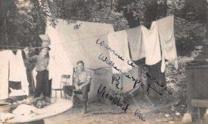 Williamsport Pennsylvania Camping Scene Real Photo Vintage Postcard JH230953