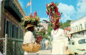 St Thomas Colorful Bedecked Natives Displaying Their Wares 1955