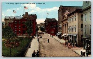 Altoona PA~12th Street Birdseye From Bridge~Brick Road~News Agency~Theatre~c1910