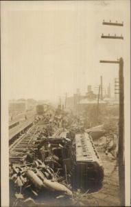 RR Train Wreck Disaster & Paper Mill - Bridgeport CT Stamped on Back RPPC