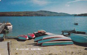 Boats on beach , ST-ANACLET , Rimouski , Quebec , Canada , 40-60s