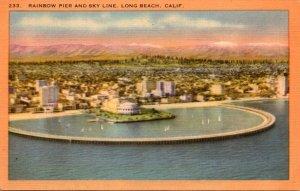 California Long Beach Rainbow Pier and Skyline