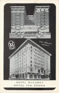 Evansville Indiana~Fort Wayne~Hotel McCurdy~Hotel Van Orman~1920s B&W Postcard