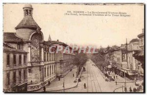 Old Postcard Nimes Boulevard Victor Hugo (in the background the great theater...