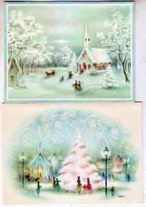 2 - Christmas Cards, 1 Glass Beaded