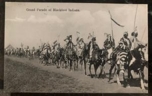 Mint RPPC Real Picture Postcard Native American Indian Grand Parade Of Blackfoot