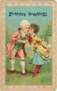 French Colonial Dressed Couple KIssing Birthday Greetings Postcard