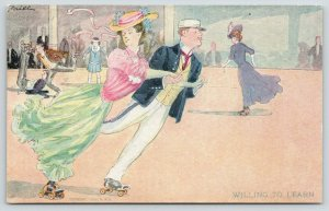 Brill~Roller Rink Skating~Willing to Learn Elegant Couple Sails On~1907 R Hill
