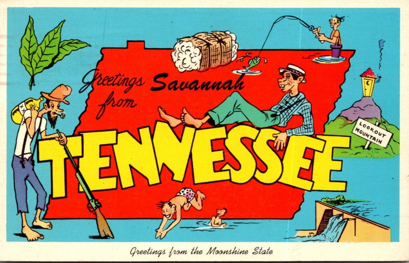 Tennessee Greetings From Savannah With Map 1976