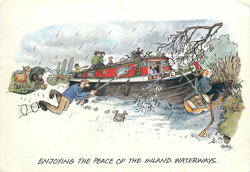 Enjoying the peace of the inland waterways humour signed Besley
