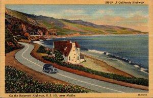 California Scene On The Roosevelt Highway U S 101 Near Malibu Curteich