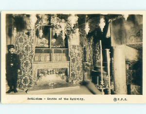 Pre-1950 rppc JESUS - GROTTO OF THE NATIVITY Bethlehem ISRAEL t3094
