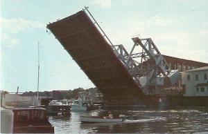 Mystic Connecticut Drawbridge Separating Stonington from Town of Groton Postcard
