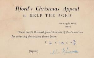 Ilford Help The Aged Christmas Appeal Antique London Postcard