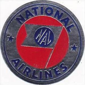 NATIONAL AIRLINES VINTAGE LUGGAGE LABEL