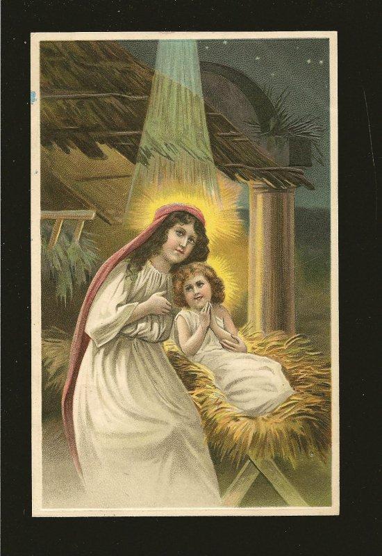 Postmarked 1912 Bergen Norway Virgin Mary & Jesus SB Embossed Postcard