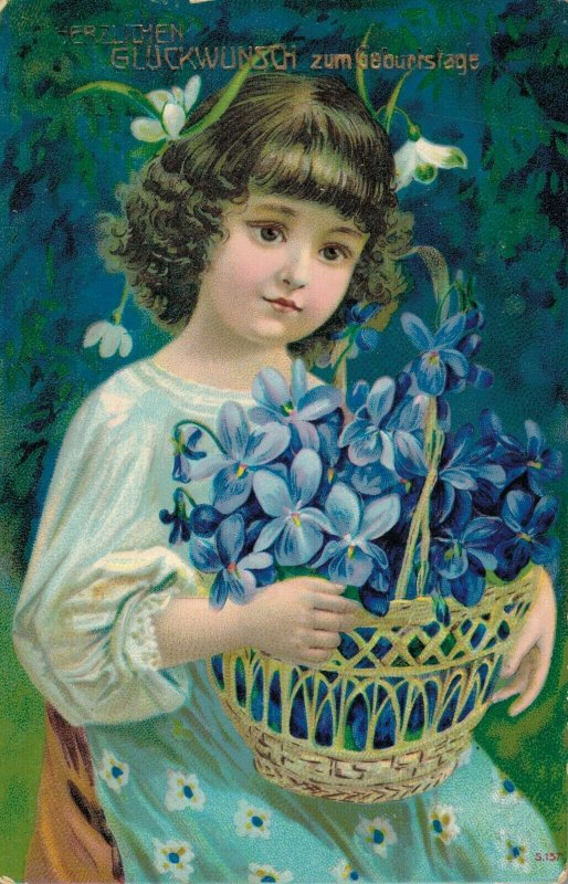 Happy New Year Victorian Girl Blue Flowers 06.65