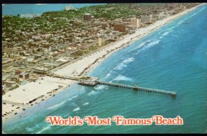 Florida World's Most Famous Beach Aerial Broadwalk - Postally Used - Chrome