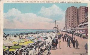 Boardwalk and Beach at Ritz Carlton and Ambassador Hotels, Atlantic City, New...