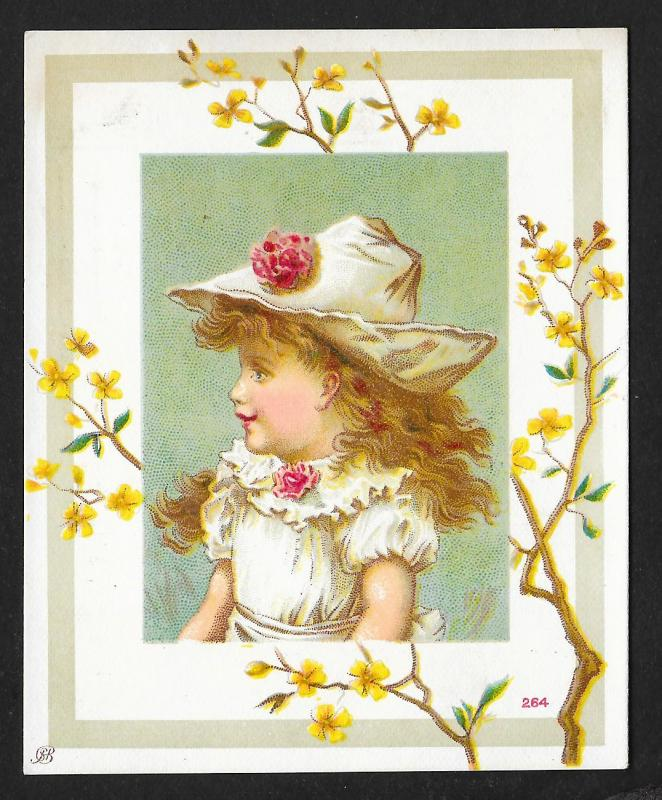 VICTORIAN TRADE CARD Cute Girl with Big Hat & Yellow Flowers