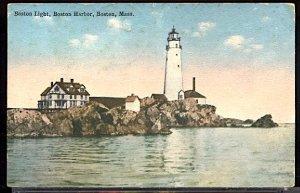 USA Postcard Boston Lighthouse Entrance to Harbor Boston Mass. PM 1915