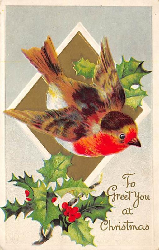 Christmas Post Card Old Vintage Antique Xmas Postcard Damaged Card Writing on...