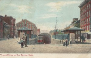 Subway Tunnel Entrance, East Boston, Massachusetts, Early Postcard, Used in 1907