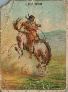 1910's A Mean Cayuse Horse Riding Hassan The Oriental Smoke Trade Card
