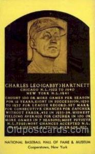 Charles Leo Gabby Hartnett Baseball Hall of Fame Card, Old Vintage Antique Po...