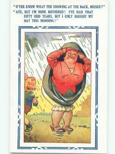 Bamforth Comic WOMAN TRIES TO AVOID GETTING WET IN RAIN AB9793