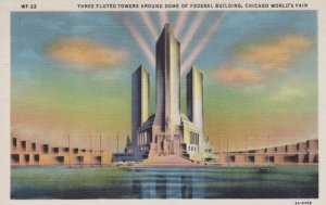 Three Fluted Tower Fed Bldg Chicago World Fair Illinois Vintage Linen Post Card