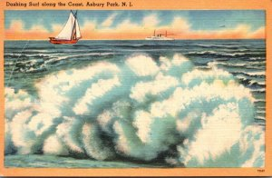 New Jersey Asbury Park Dashing Surf Along The Coast