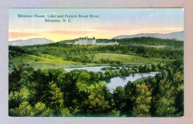 Biltmore House, Lake & French Broad River, North Carolina, unused Postcard