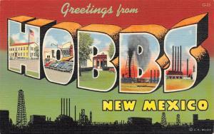Hobbs New Mexico~Large Letter Linen Postcard~Oil Silhouette~Reavis Drugs~1941