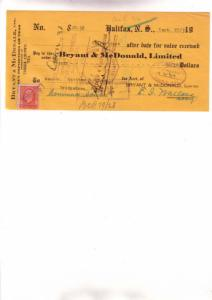 1933 Bryant McDonald, Teas, Cheque w Stamp, Halifax '3