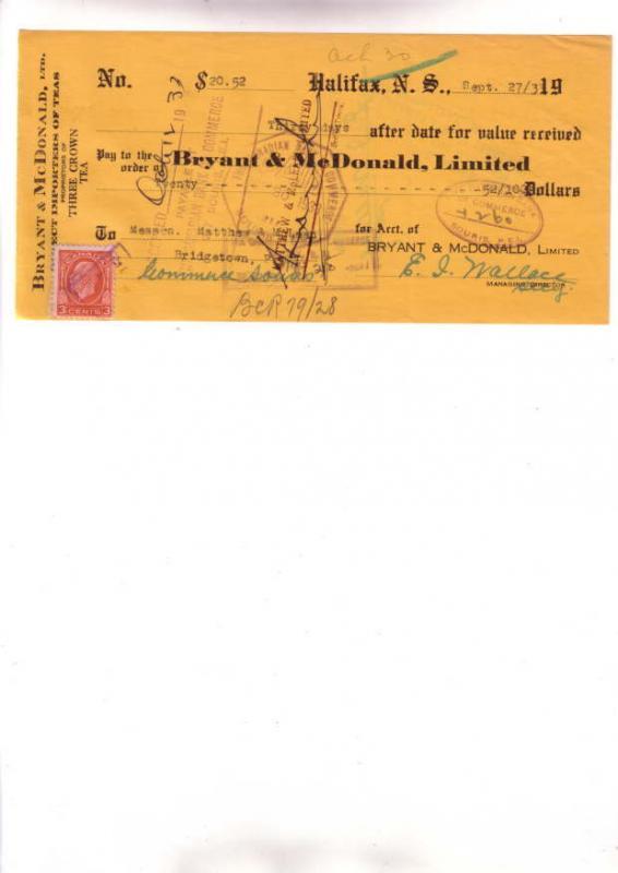 1933 Bryant McDonald, Teas, Cheque w Stamp, Halifax '3