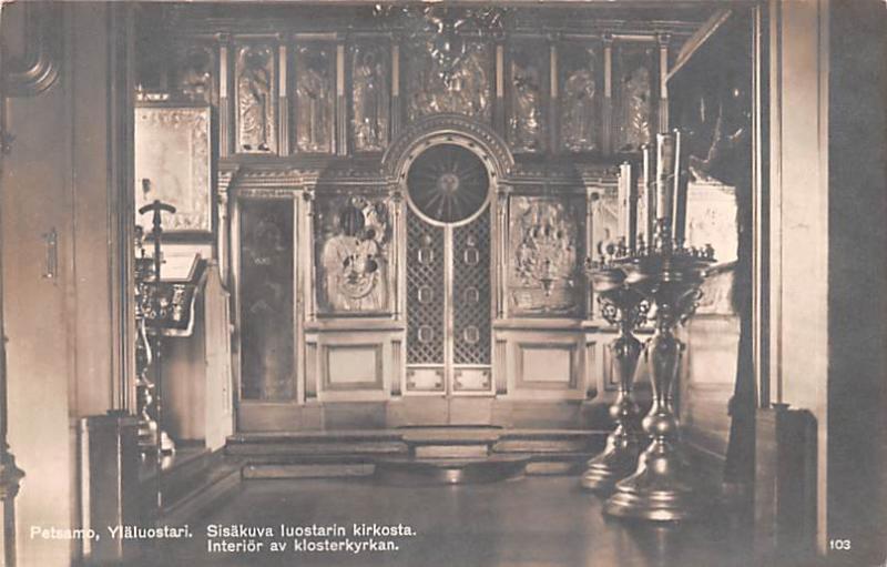 Petsamo Finland, Suomi Interior av klosterkyrkan Petsamo Interior av klosterk...
