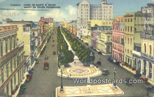 Paseo de Marti o Prado, Promenade Habana Cuba, Republica De Cuba 1946 Missing...