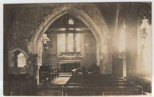 Hampshire; Crawley Church Interior RP PPC, c 1920's, Unused