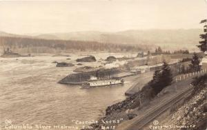 Columbia River Highway Oregon~Paddle Steamer @ Cascade Locks~RR Tracks~'20s RPPC